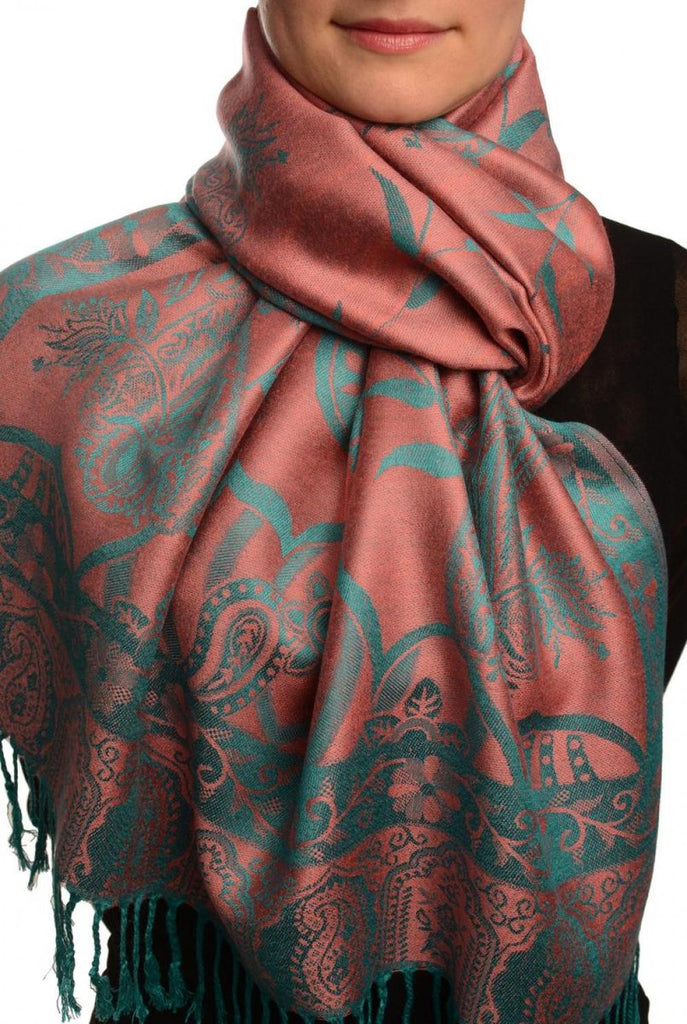 Moroccan Rose On Coral Pink Pashmina With Tassels
