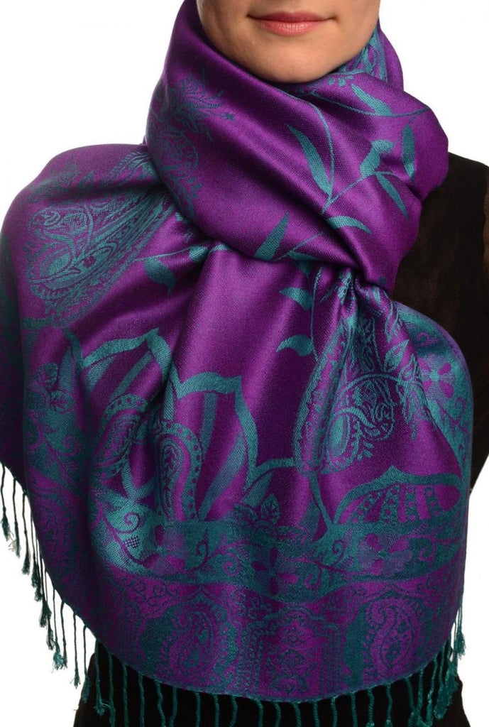 Moroccan Rose On Purple Pashmina With Tassels