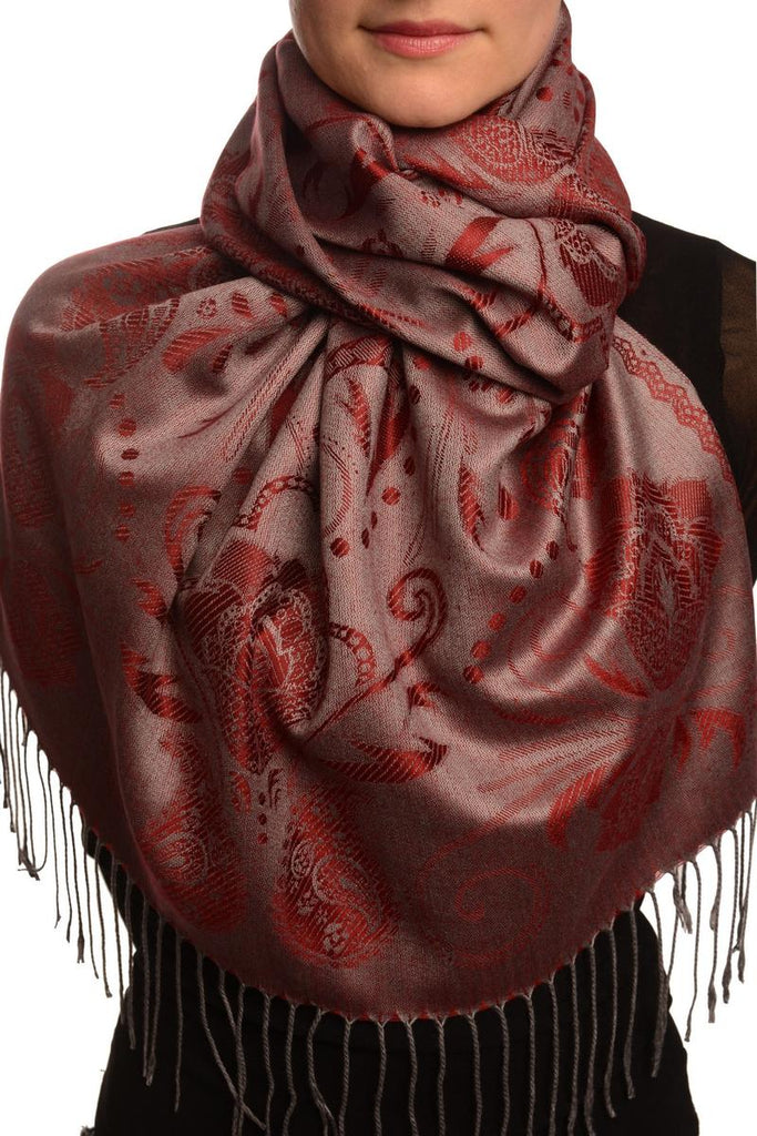 Pearls & Paisleys On Burgundy Red Pashmina With Tassels