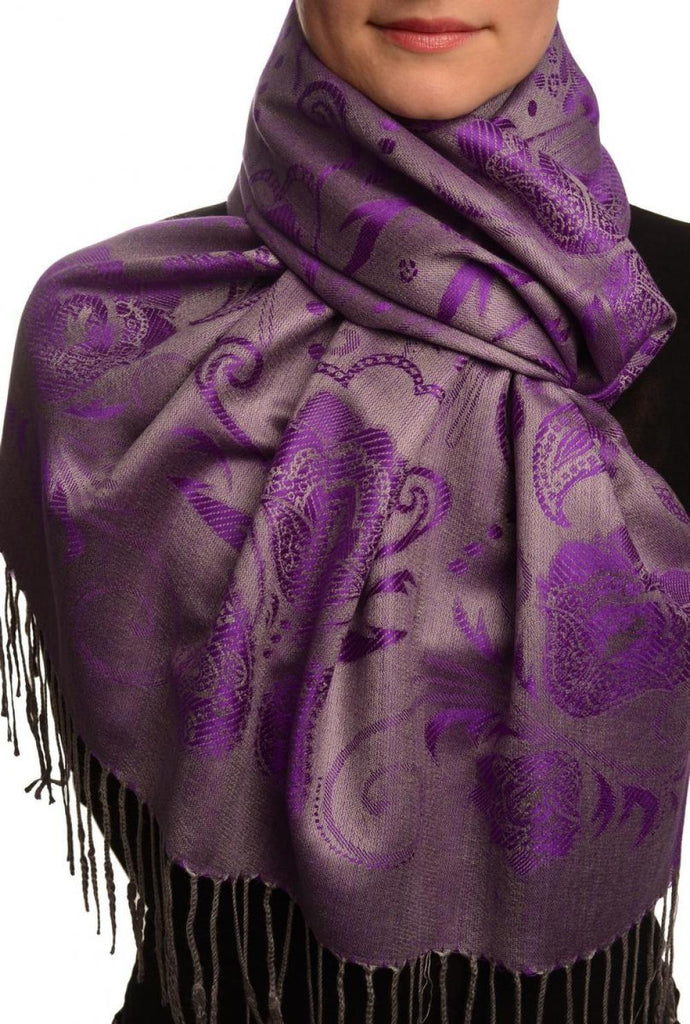 Pearls & Paisleys On Purple & Grey Pashmina With Tassels