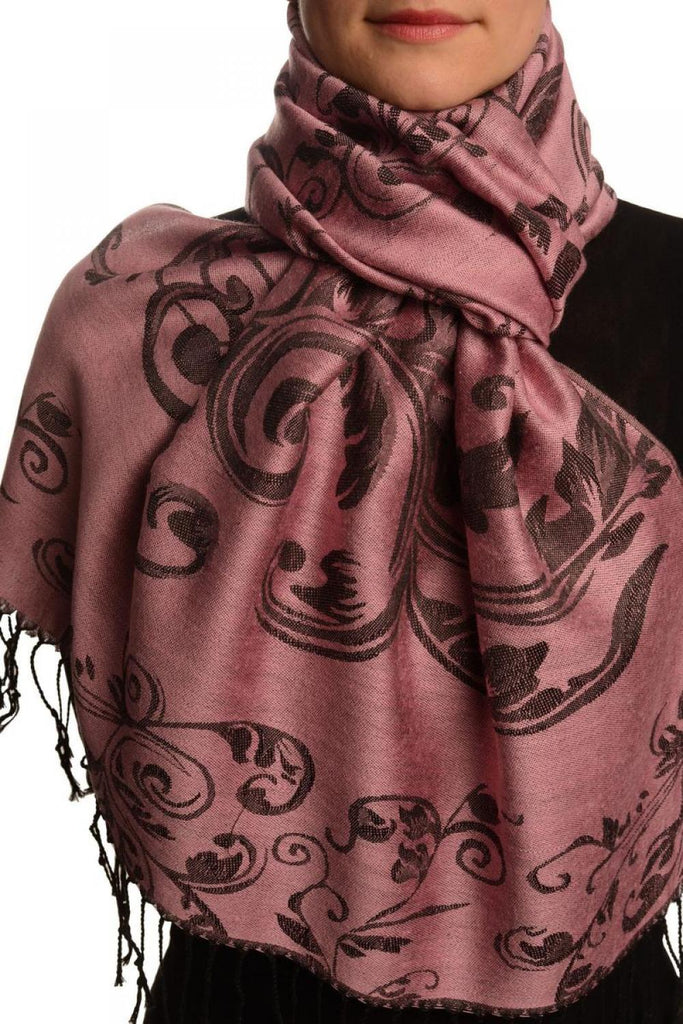 Fern Leaves On Thulian Pink Pashmina With Tassels