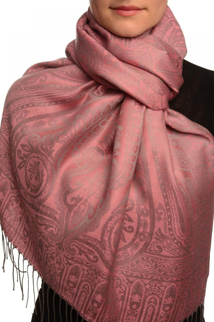 Mirrored Paisley On Hot Pink Pashmina With Tassels