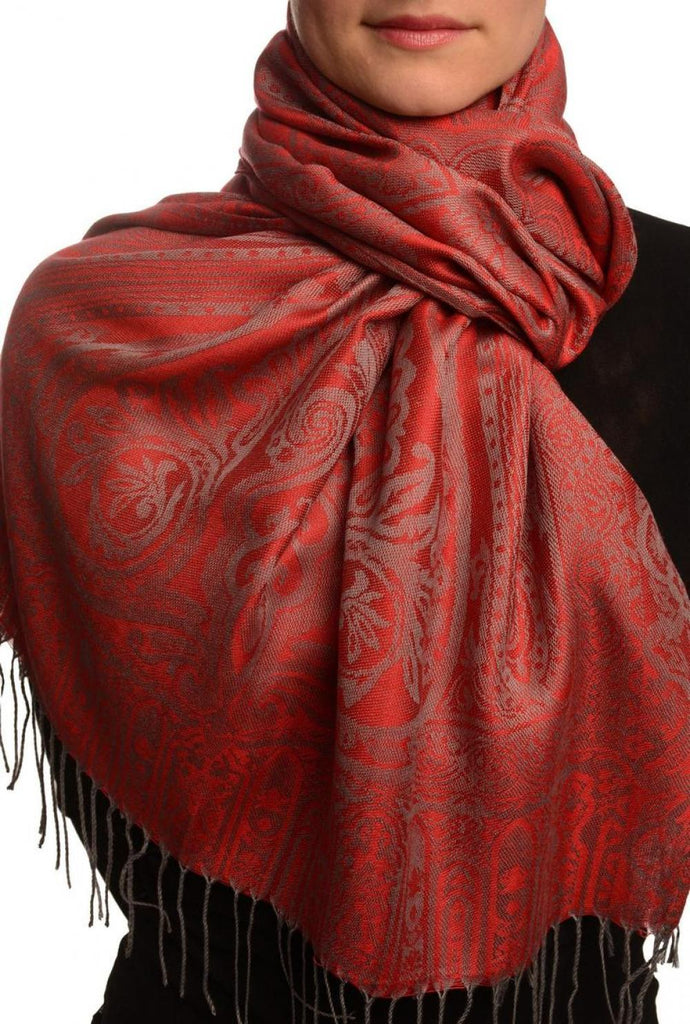 Mirrored Paisley On Red Pashmina With Tassels