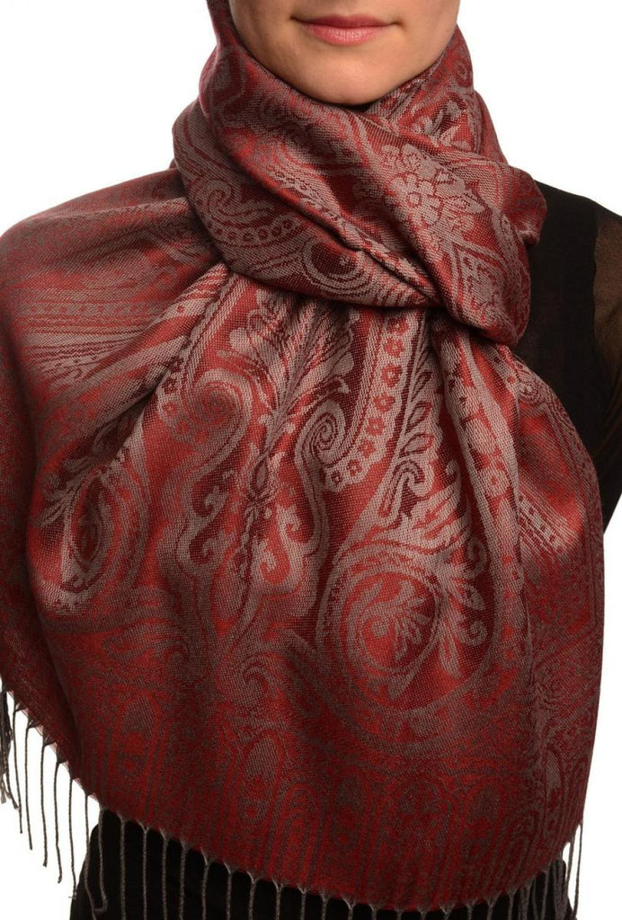 Mirrored Paisley On Burgundy Red Pashmina With Tassels
