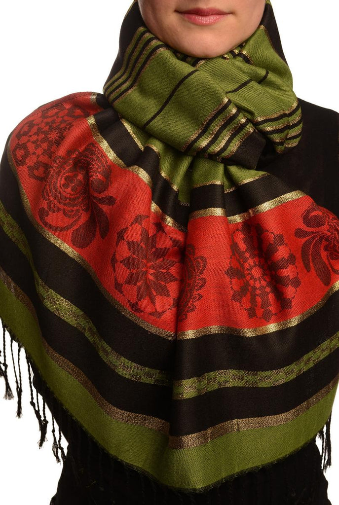 Olive Green Stripes & Gold Lurex Pashmina With Tassels