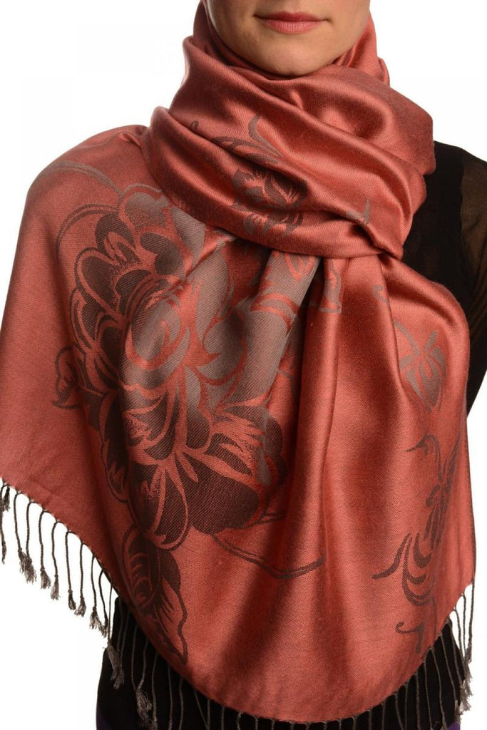 Large Roses On Chestnut Pink Pashmina With Tassels