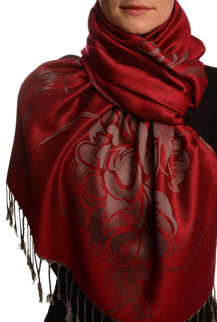 Large Roses On Burgundy Red Pashmina With Tassels