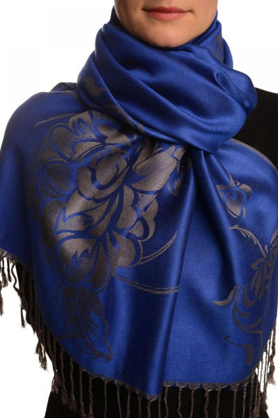 Large Roses On Persian Blue Pashmina With Tassels