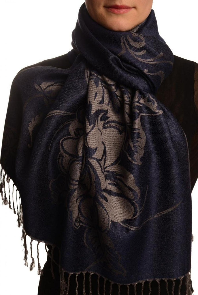 Large Roses On Oxford Blue Pashmina With Tassels