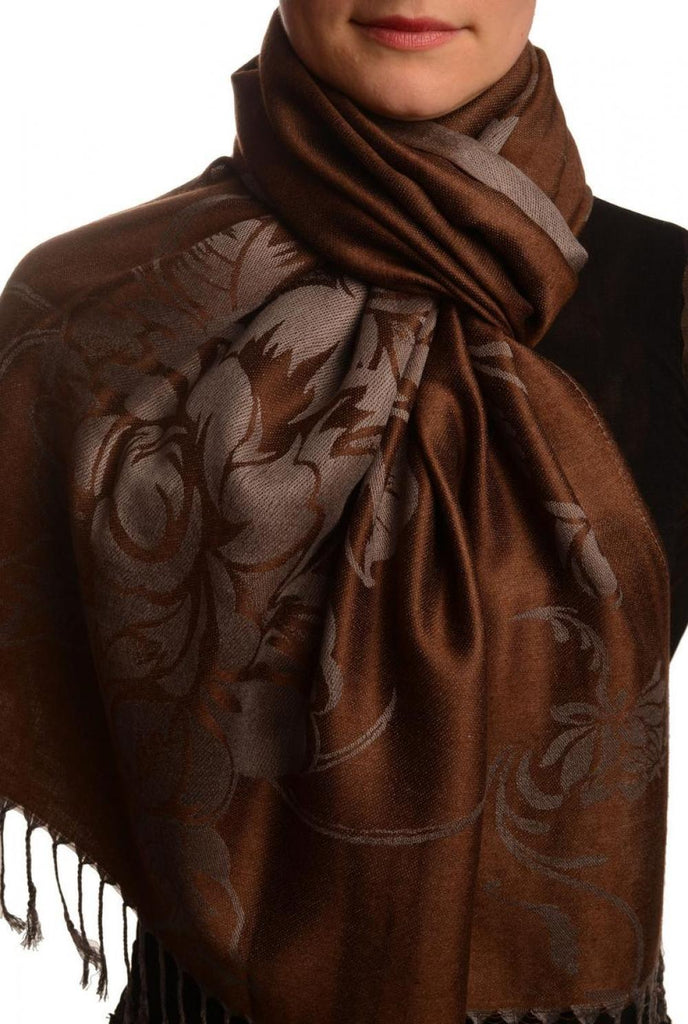 Large Roses On Chocolate Brown Pashmina With Tassels