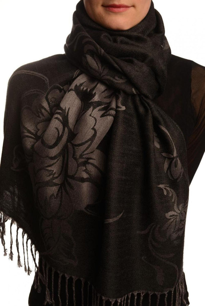 Large Roses On Black Pashmina With Tassels