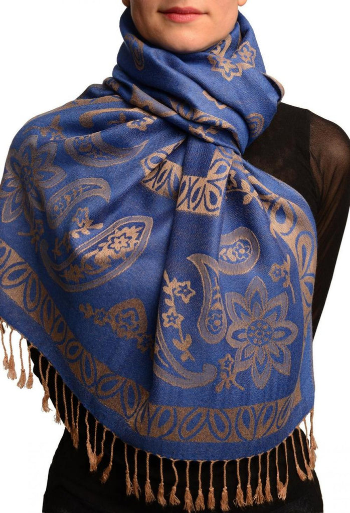 Frames and Paisleys On Blue Pashmina Feel With Tassels