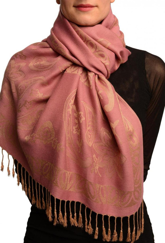 Frames and Paisleys On Puce Pink Pashmina Feel With Tassels