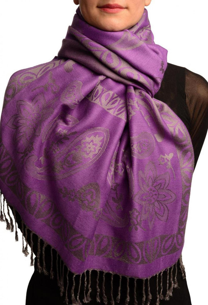 Frames and Paisleys On Purple Pashmina Feel With Tassels