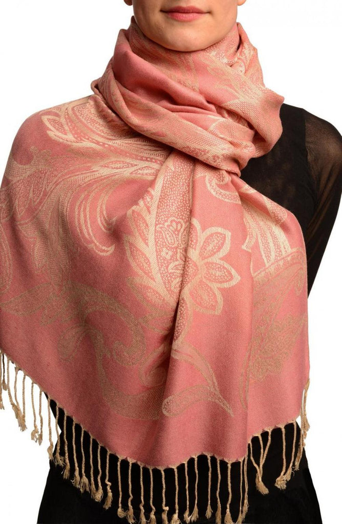 Large Paisleys On Puce Pink Pashmina Feel With Tassels