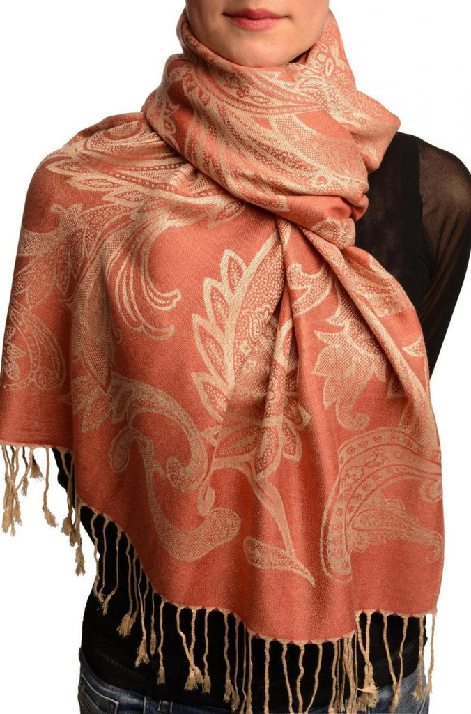 Large Paisleys On Coral Pink Pashmina Feel With Tassels