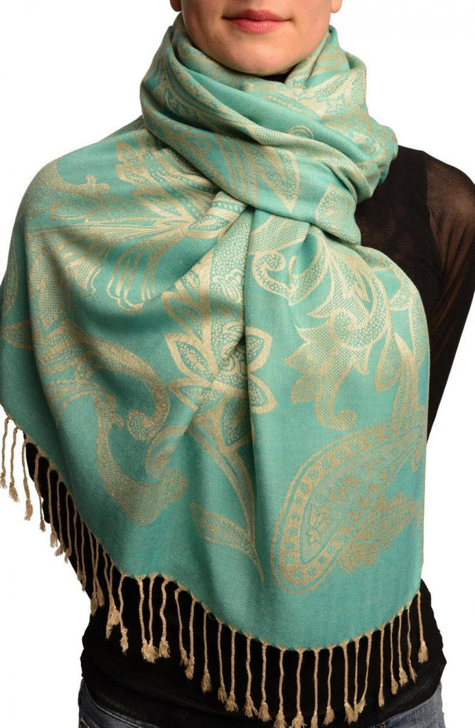 Large Paisleys On Teal Blue Pashmina Feel With Tassels