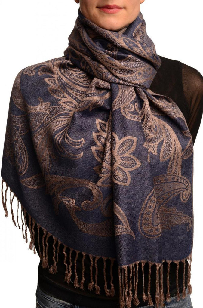 Large Paisleys On Midnight Blue Pashmina Feel With Tassels