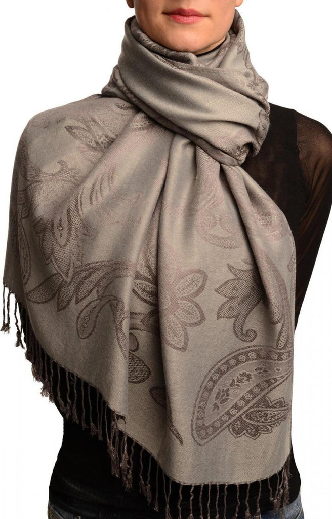 Large Paisleys On Grey Pashmina Feel With Tassels