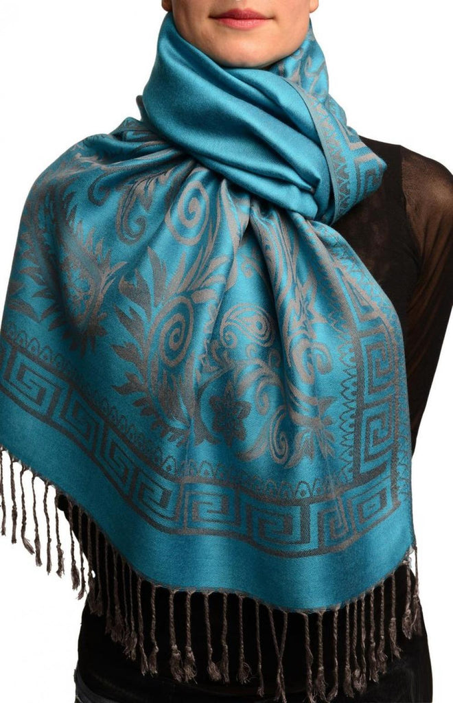 Meander & Paisleys On Cerulean Blue Pashmina Feel With Tassels
