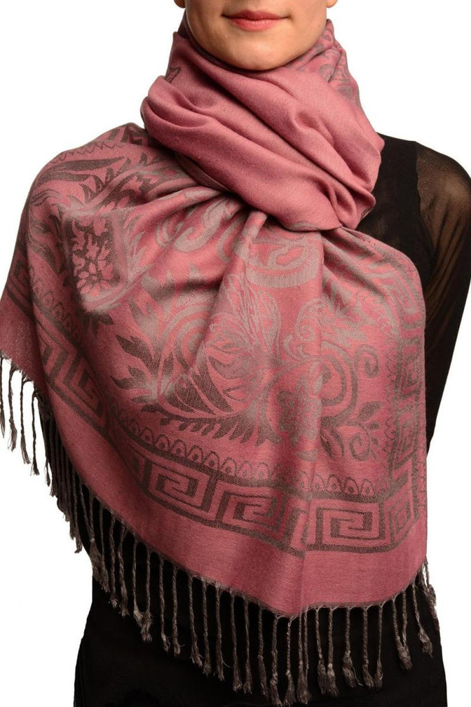 Meander & Paisleys On Puce Pink Pashmina Feel With Tassels