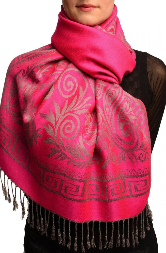 Meander & Paisleys On Fuchsia Pink Pashmina Feel With Tassels