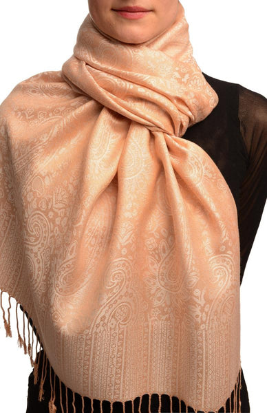 Beige Paisleys Pashmina Feel With Tassels