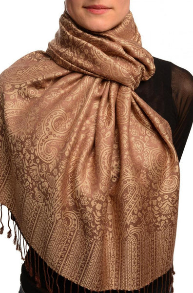 Brown & Mocha Paisleys Pashmina Feel With Tassels