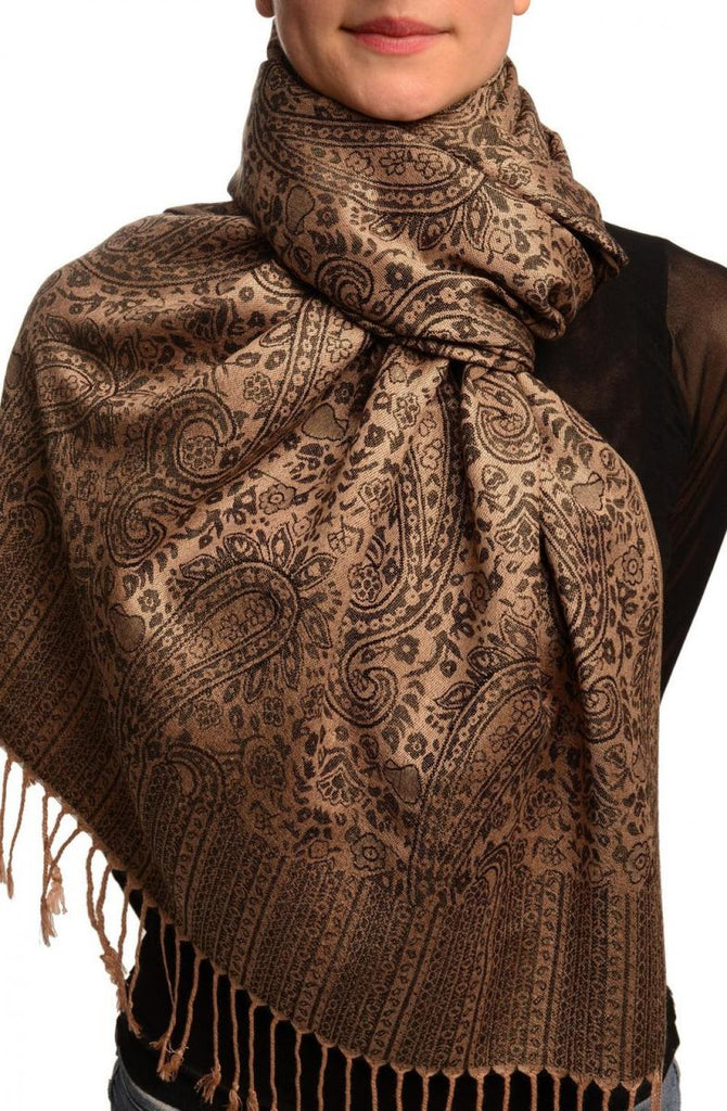 Mocha & Black Paisleys Pashmina Feel With Tassels