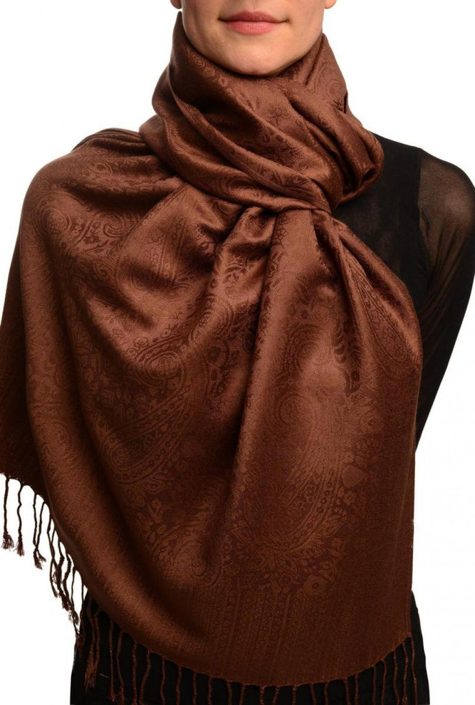 Chocolate Brown Paisleys Pashmina Feel With Tassels