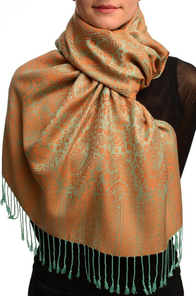 Moss Green & Orange Paisleys Pashmina Feel With Tassels