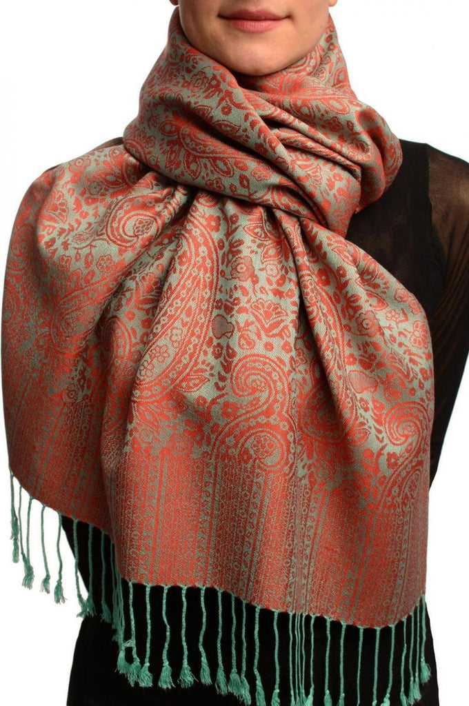 Moss Green & Red Paisleys Pashmina Feel With Tassels