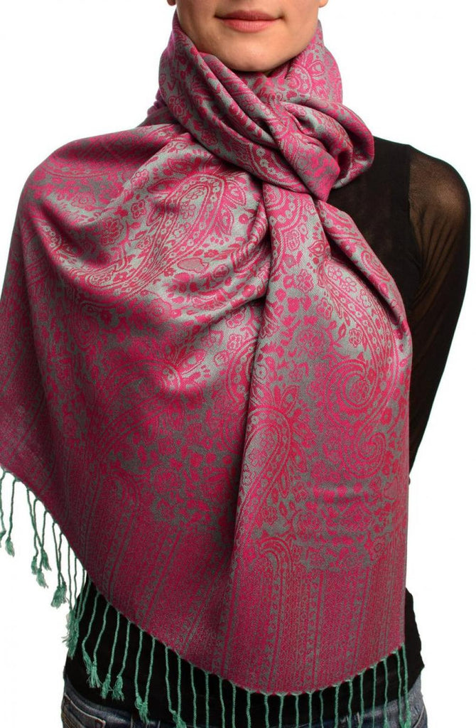 Moss Green & Fuchsia Paisleys Pashmina Feel With Tassels