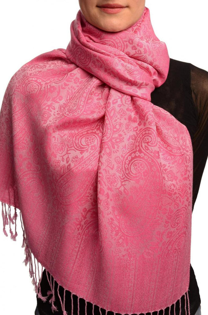 Lemonade & Fuchsia Pink Paisleys Pashmina Feel With Tassels