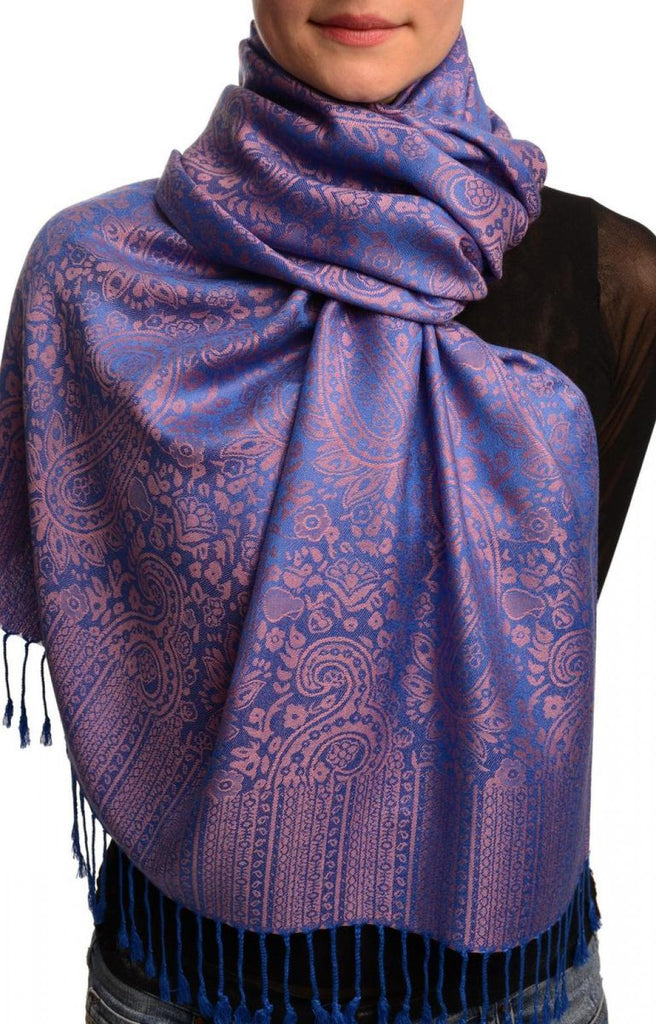 Bright Blue & Pink Paisleys Pashmina Feel With Tassels