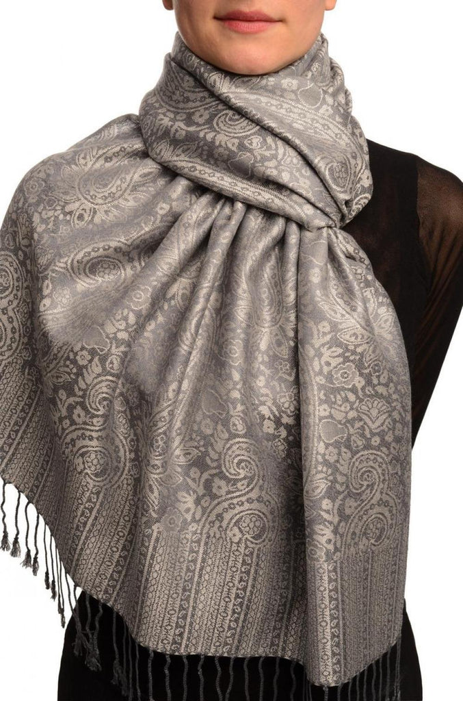 Grey & Slate Grey Paisleys Pashmina Feel With Tassels