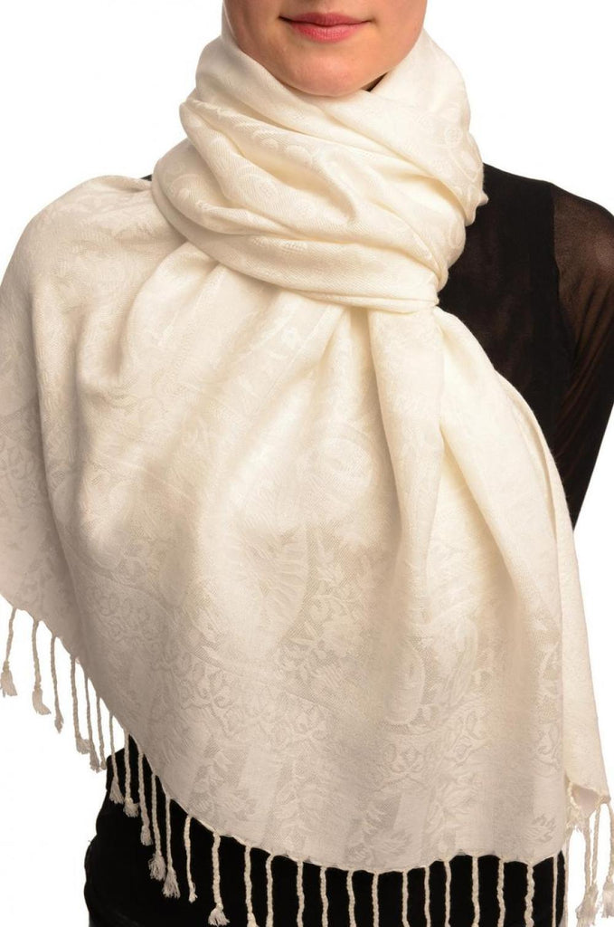 Dots On White Pashmina Feel With Tassels