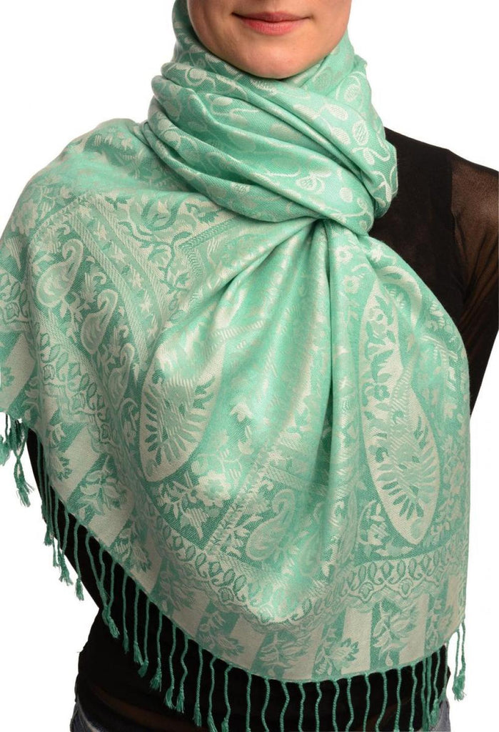 Dots On Caledon Green Pashmina Feel With Tassels
