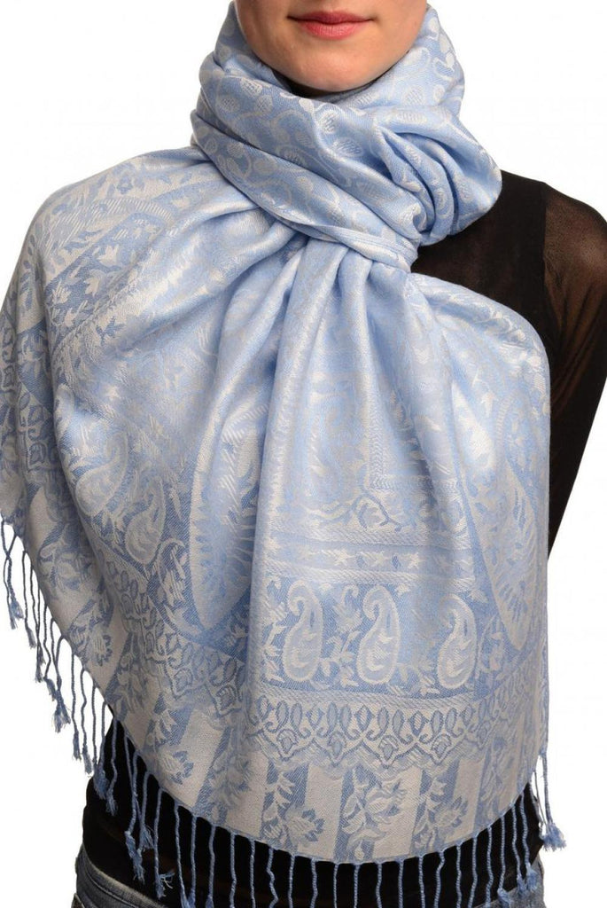 Dots On Light Blue Pashmina Feel With Tassels