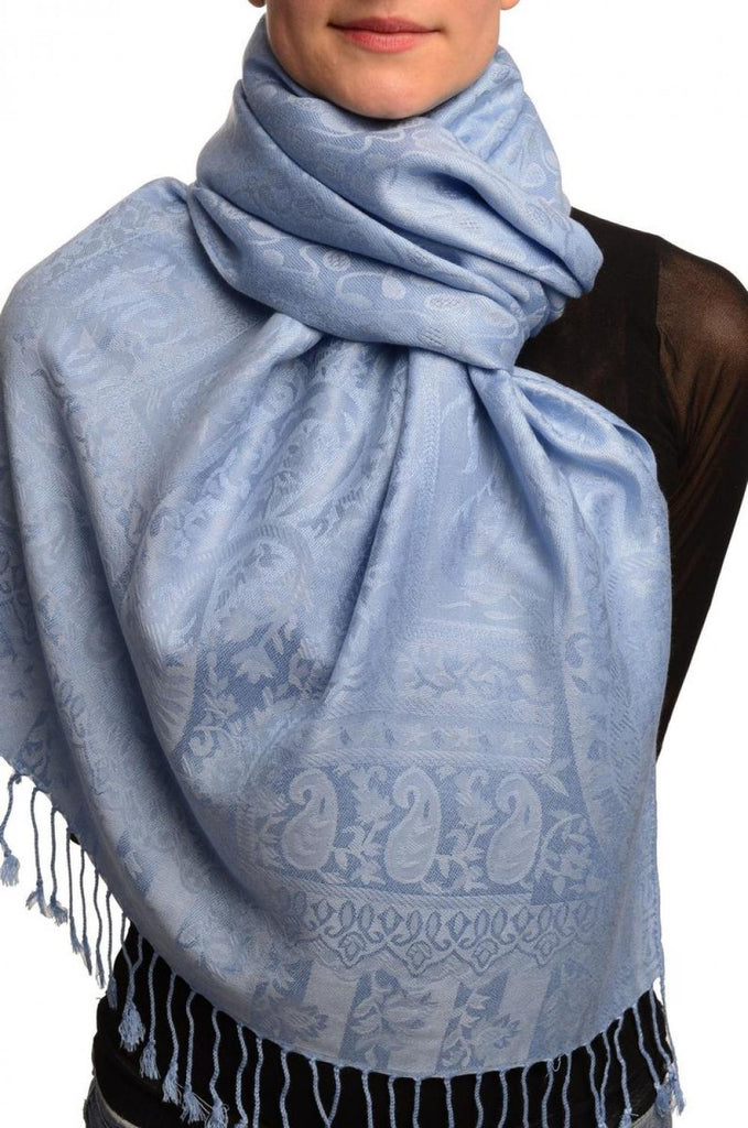 Dots On Sky Blue Pashmina Feel With Tassels