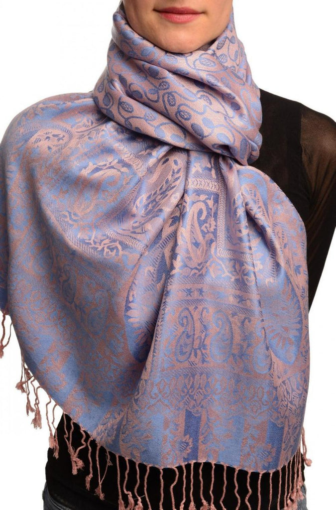 Dots On Blue & Pink Pashmina Feel With Tassels