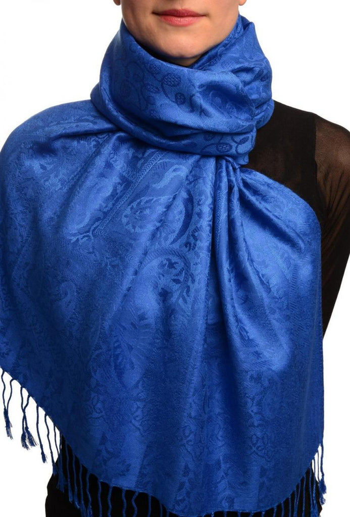 Dots On Persian Blue Pashmina Feel With Tassels