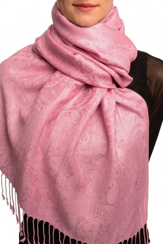Dots On Lavender Pink Pashmina Feel With Tassels