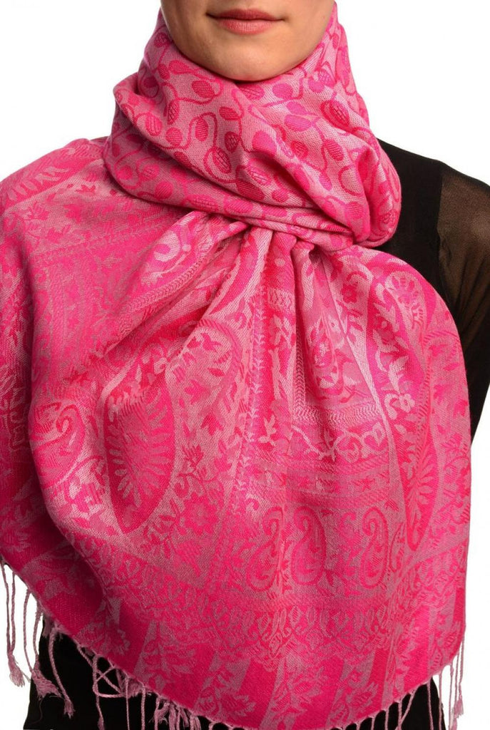 Dots On Fuchsia Pink Pashmina Feel With Tassels