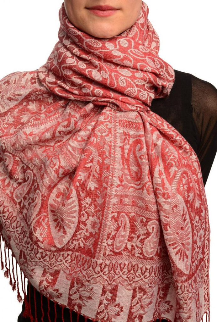 Dots On Beige & Red Pashmina Feel With Tassels