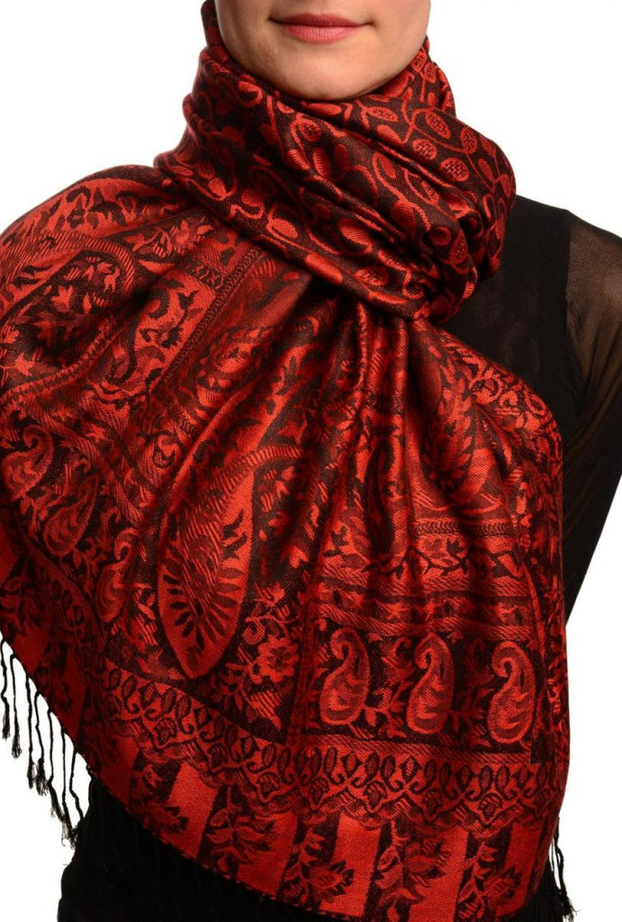Dots On Red & Black Pashmina Feel With Tassels