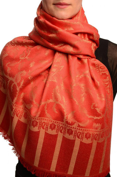 Beige Large Paisley On Red Pashmina Feel
