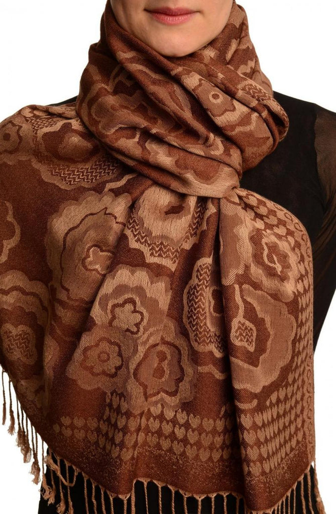 Daisies On Brown Pashmina Feel With Tassels