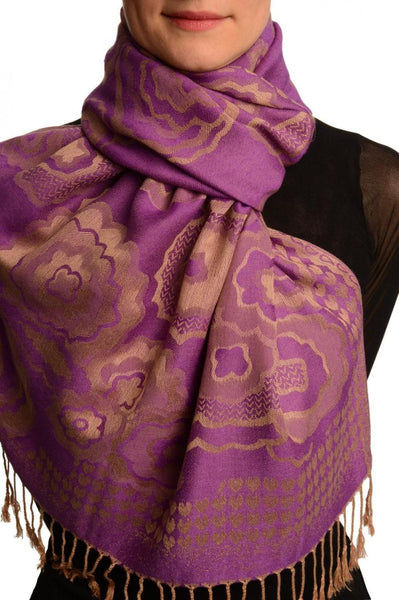 Daisies On Purple Pashmina Feel With Tassels