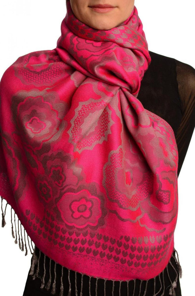 Daisies On Fuchsia Pink Pashmina Feel With Tassels